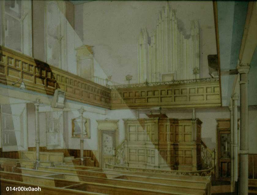 Painting of interior of Wesleyan Chapel, before 1978